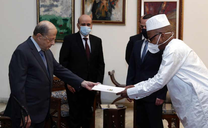 President Michel Aoun receives the credentials of the Ambassador of Sierra Leone, Ambassador Alie Babara KAMARA.