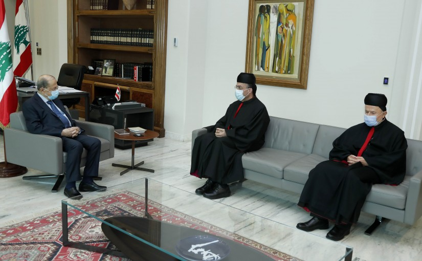 President Michel Aoun meets Bishop Charbel Abdullah.( pastor of the Archdiocese of Tire for the Maronite community).