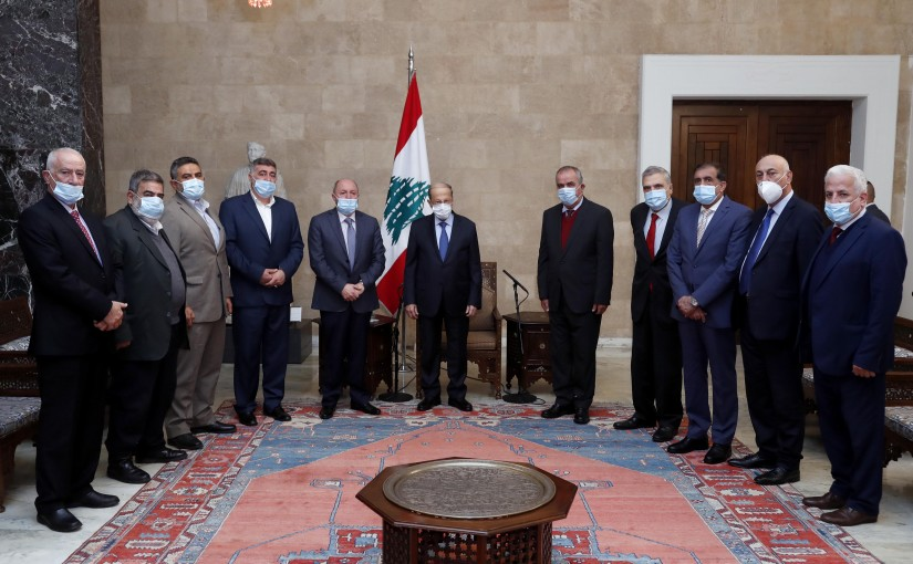 President Michel Aoun meets Dr. Bechara el Asmar with a Delegation.