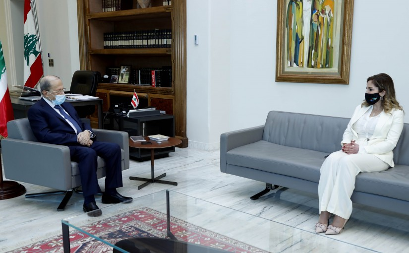 President Michel Aoun meets Minister Manal Abdel Samad.