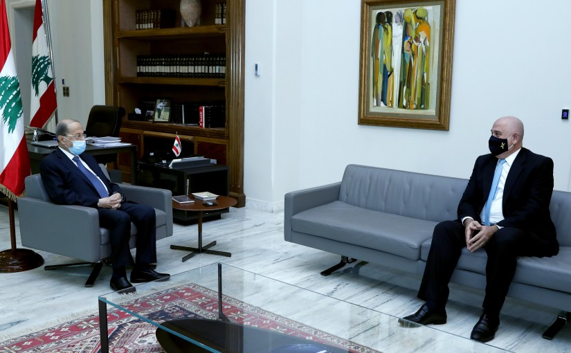 President Michel Aoun meets Minister of Industry Imad Hoballah.