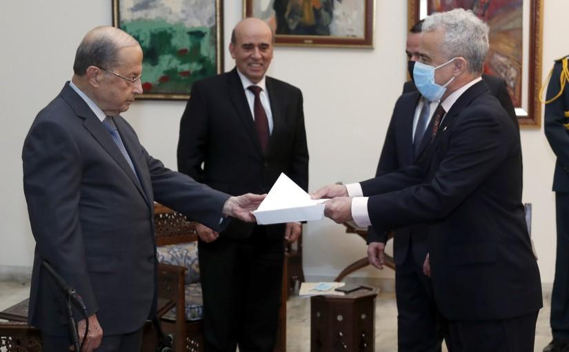 President Michel Aoun receives the credentials of the Brazilian Ambassador, Ambassador Hermano Telles RIBEIRO.