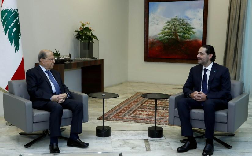 President Michel Aoun meets Designated PM Saad Hariri.