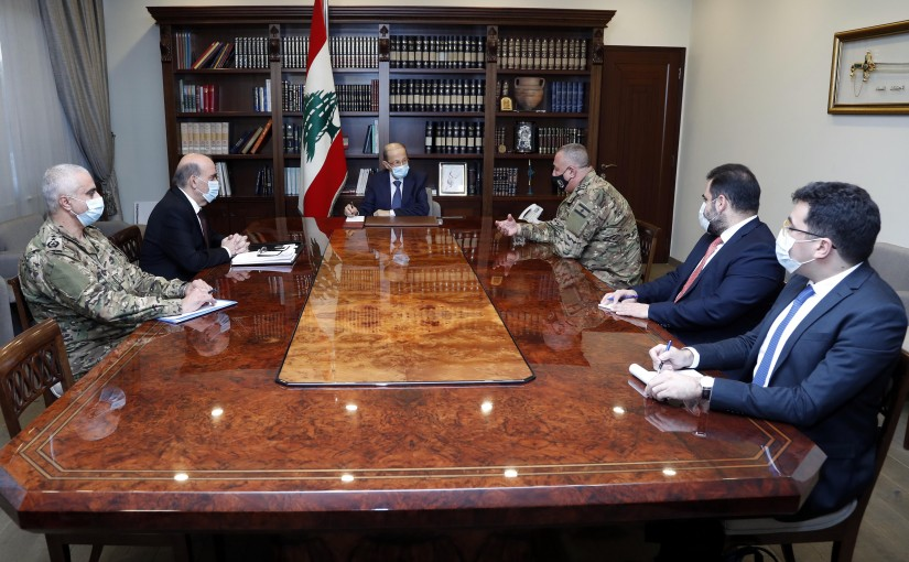 President Michel Aoun meets Foreign Minister Charbel Wehbe and members of the delegation to the indirect negotiations to demarcate the southern maritime borders.