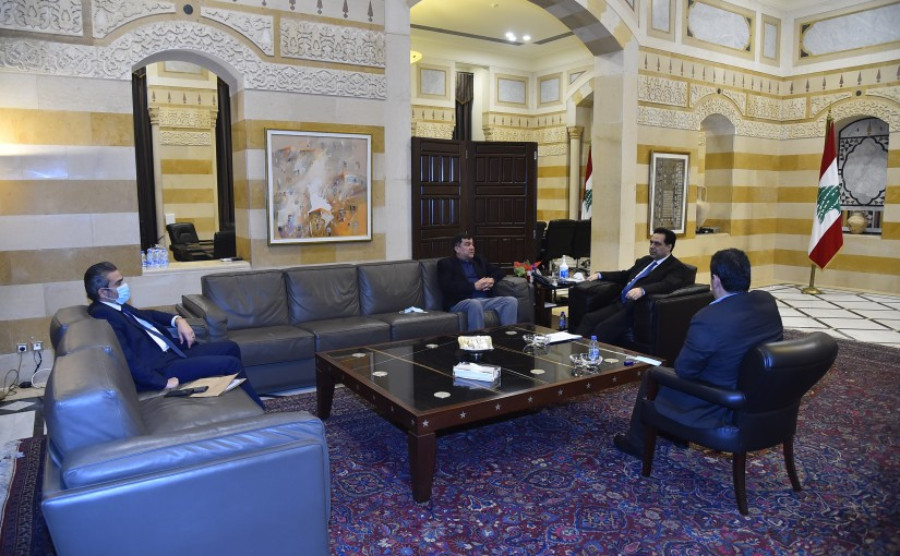 Pr Minister Hassan Diab meets Mr Mouhamad el Hout with a Delegation
