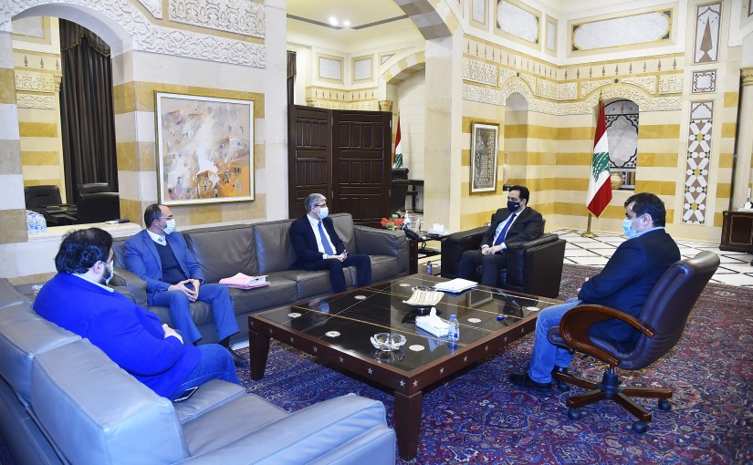 Pr Minister Hassan Diab meets Minister Tareck Mazoub with a Delegation