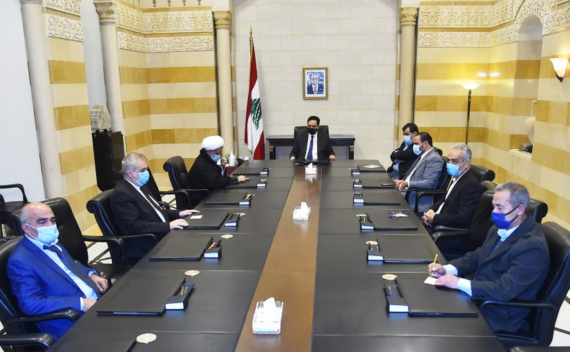 Pr Minister Hassan Diab meets a Delegation from Baalbak Families