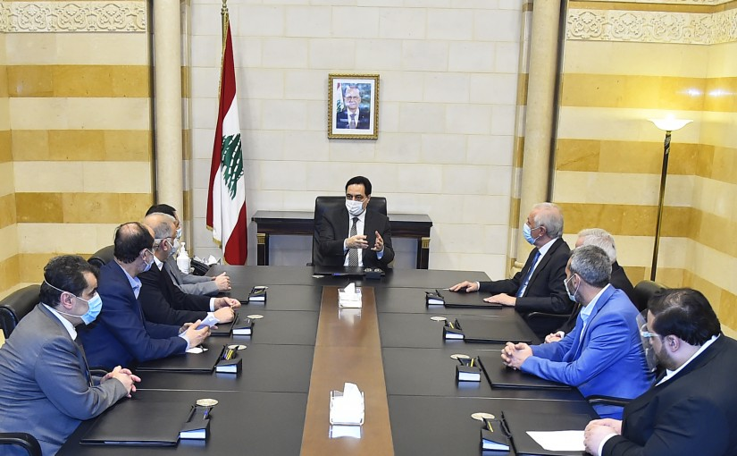 Pr Minister Hassan Diab meets a Delegation from Baalbak MPs