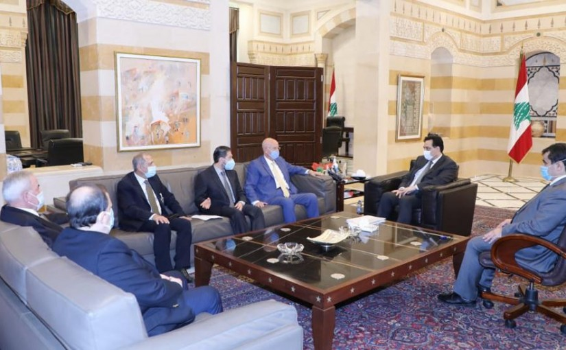Pr Minister Hassan Diab meets a Delegation from Ghathering Bloc