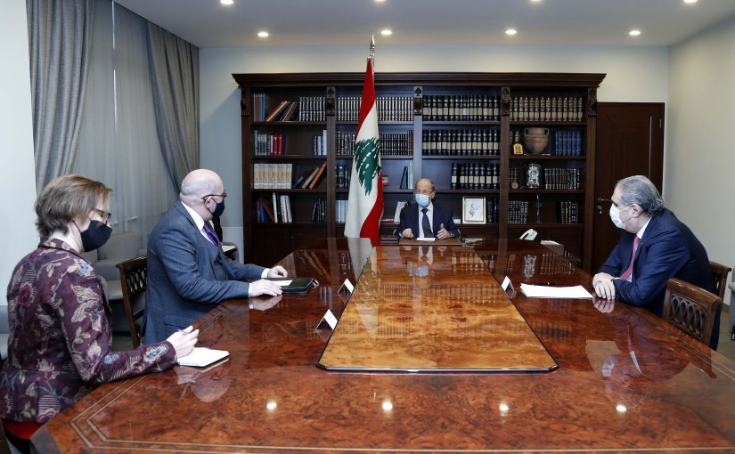 President Michel Aoun meets Dr. Martin Longden Chief of mission and charge Affairs to the British Embassy in Beirut.