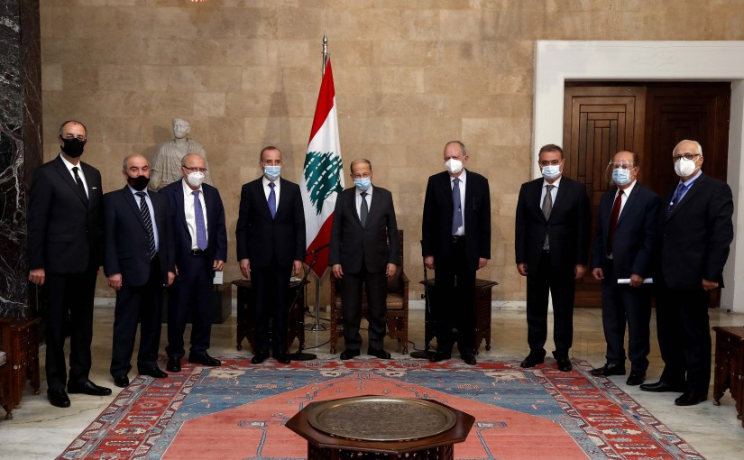 President Michel Aoun meets the President of the Constitutional Council, Judge Tannous Mashlab, with the members of the Council.