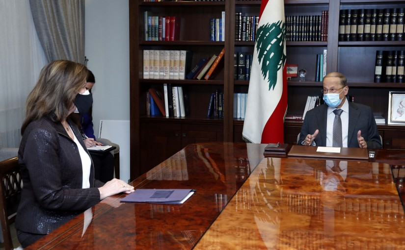 President Michel Aoun meets the Ambassador of the United States of America in Beirut, Mrs. Dorothy Camille Shea.