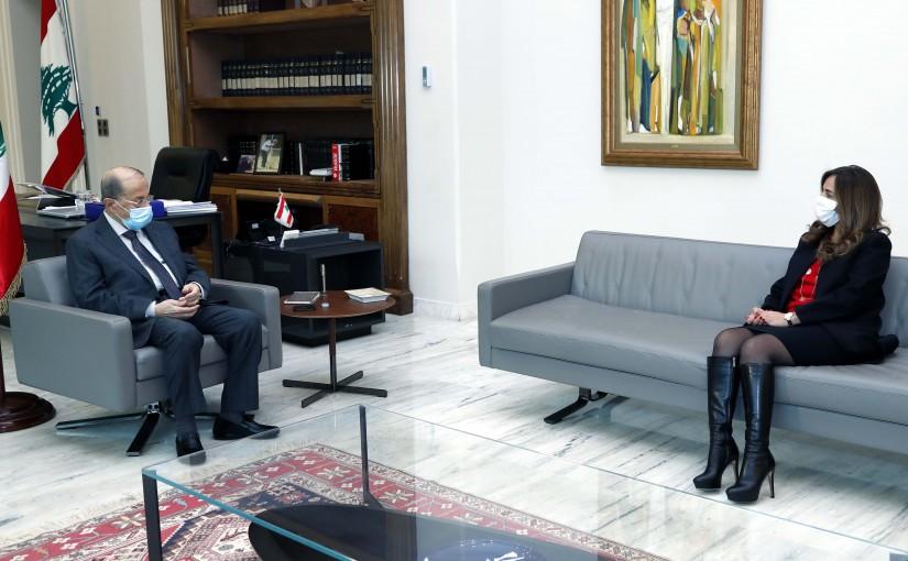 President Michel Aoun meets Minister of Defense and Deputy Prime Minister Zeina Akar.