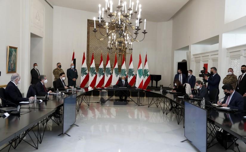President Michel Aoun attends the Supreme Defense Council  meeting.