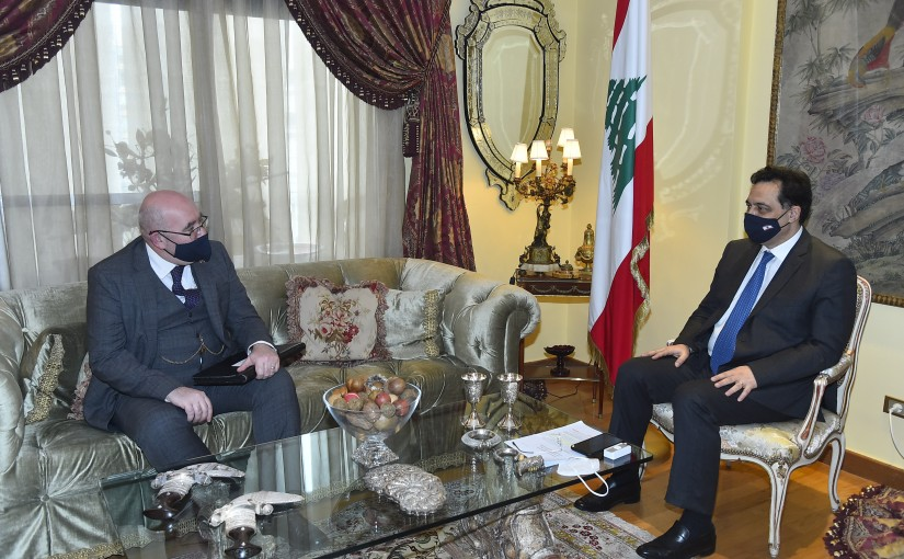 Pr Minister Hassan Diab meets British Charges D affairs