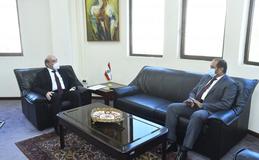 Minister Charbel Wehbeh meets Emirates Ambassador