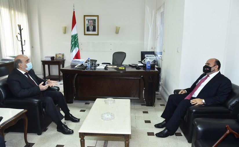 Minister Charbel Wehbeh meets Jordanian Ambassador