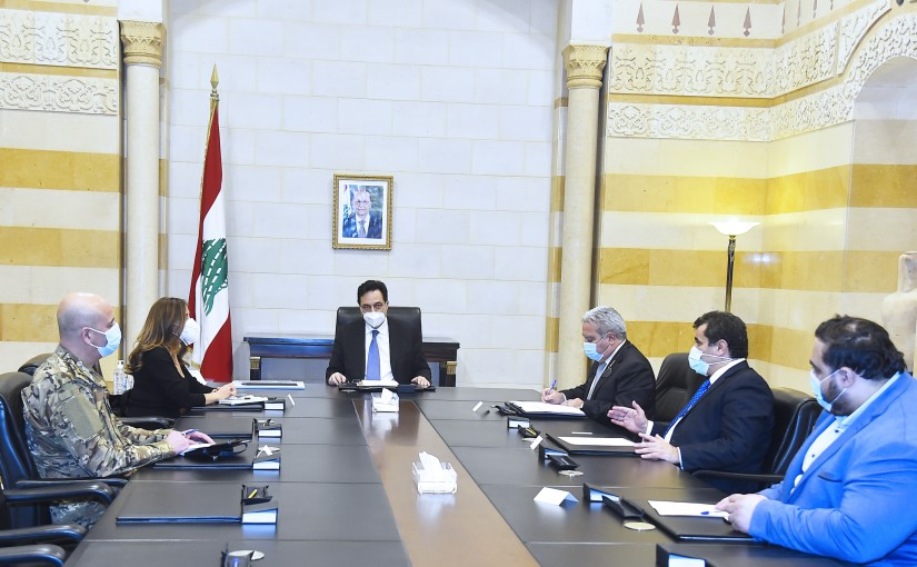 Pr Minister Hassan Diab meets Minister Ramzi Moucharafieh with a Delegation