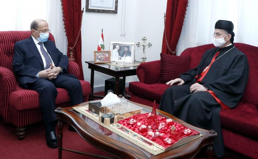 President Michel Aoun visit Bkerke to congratulate Patriarch Al-Rahi on the holidays.
