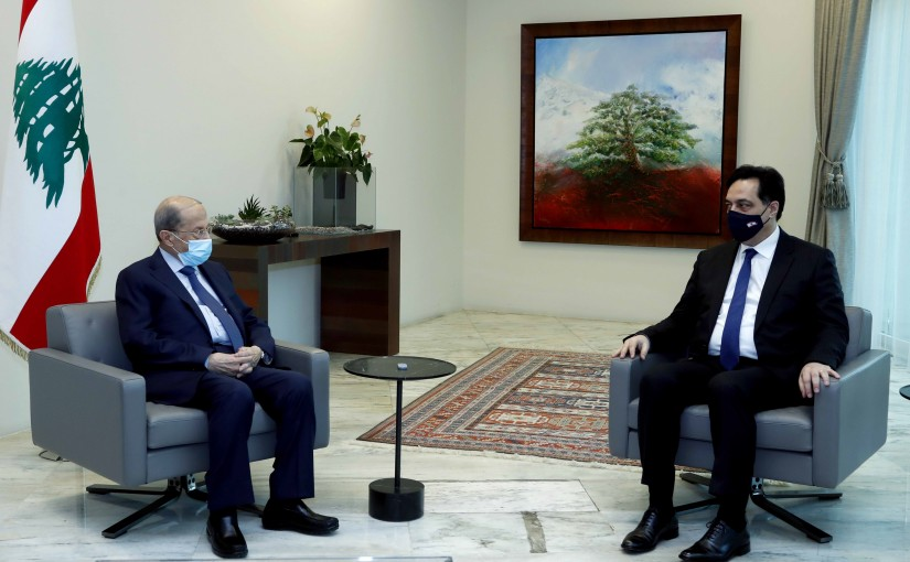 President Michel Aoun meets Resigned PM Dr. Hassan Diab.
