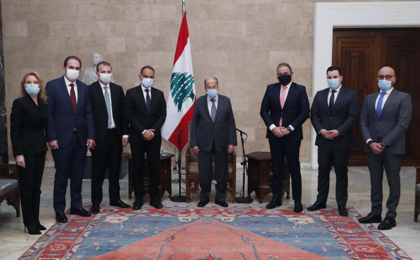 President Michel Aoun meets Dr. Mazen Soueid the Chairman and General Manager of (IDAL) with a delegation.