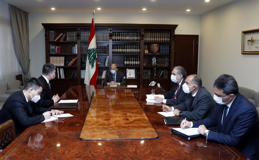 President Michel Aoun meets Ambassador Wang Kejian.