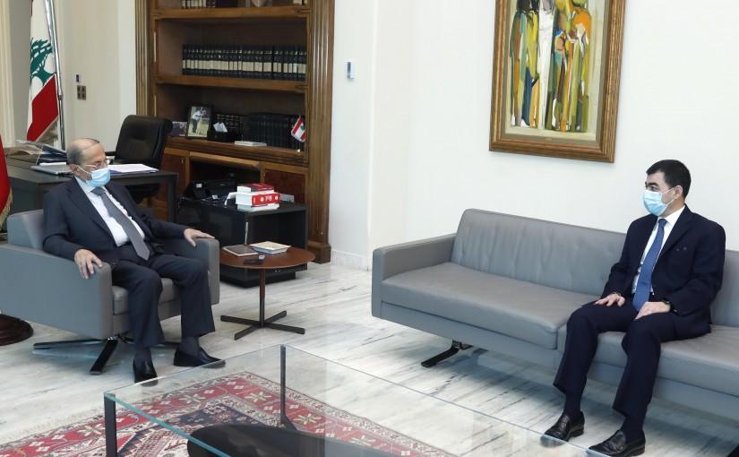 President Michel Aoun meets MP Cesar Abi Khalil .