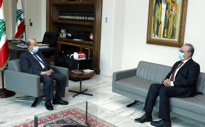 President Michel Aoun meets Former Minister Wiam Wahhab.