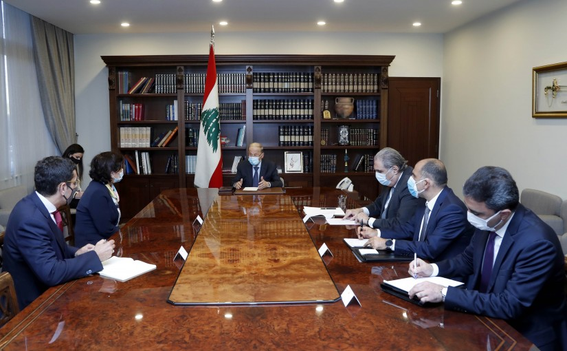 President Michel Aoun meets the Deputy Special Coordinator for the United Nations in Lebanon and the Coordinator for Humanitarian Affairs Ms. Najat Rochdi.