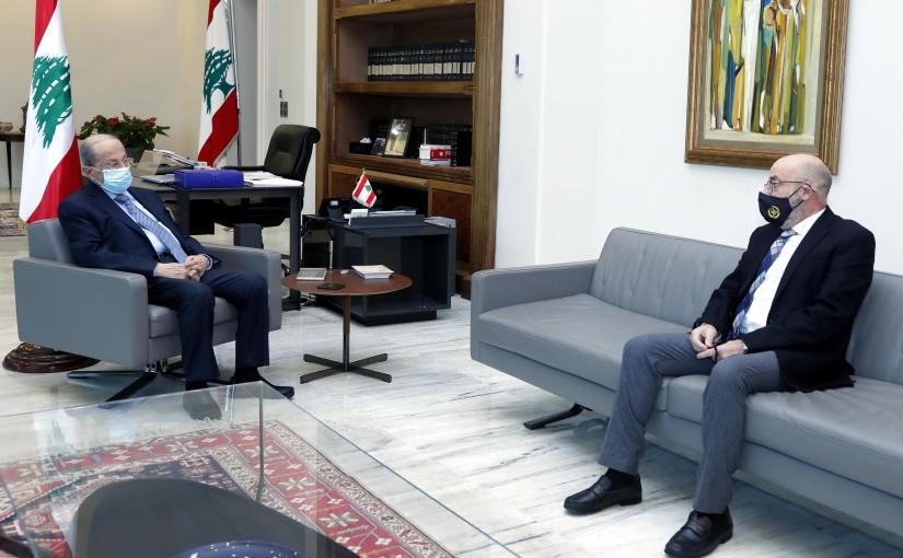 President Michel Aoun meets Former Minister Yacoub  Sarraf .