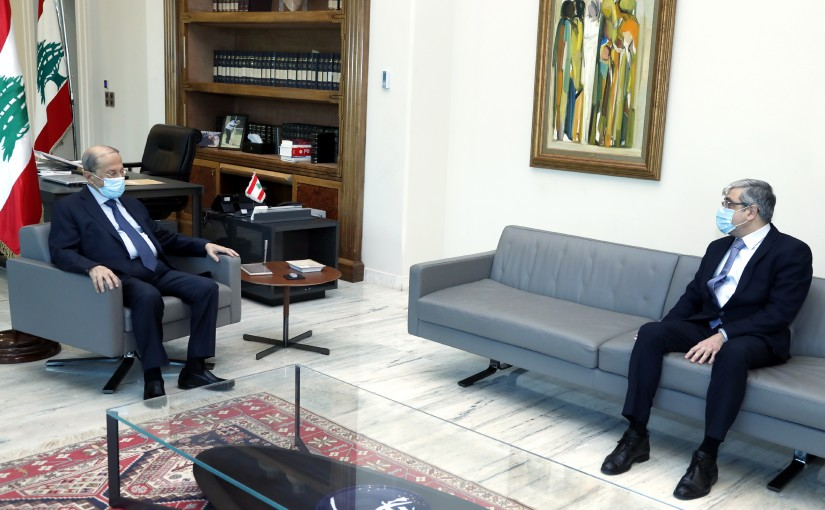 President Michel Aoun meets the Minister of Education and Higher Education Judge Tareq Al-Majzoub.