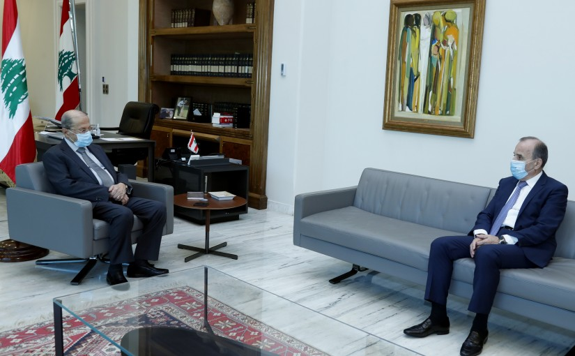 President Michel Aoun meets  the President of the Constitutional Council, Judge Tannous Mashlab.