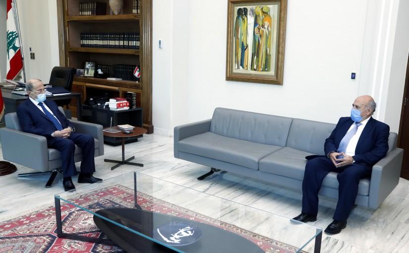 President Michel Aoun meets MP Mustafa Hussein.