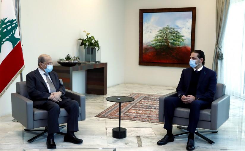 President Michel Aoun meets Designated PM Saad Hariri .