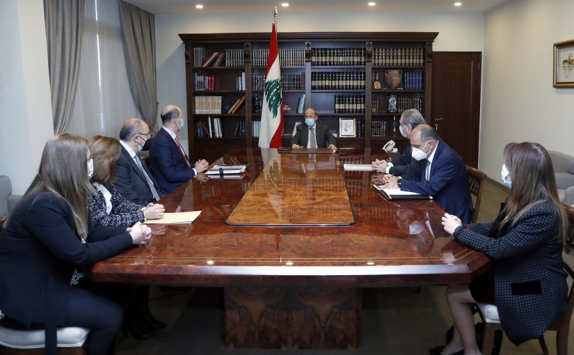 President Michel Aoun meets the Audit Bureau, headed by Judge Mohamed Badran.
