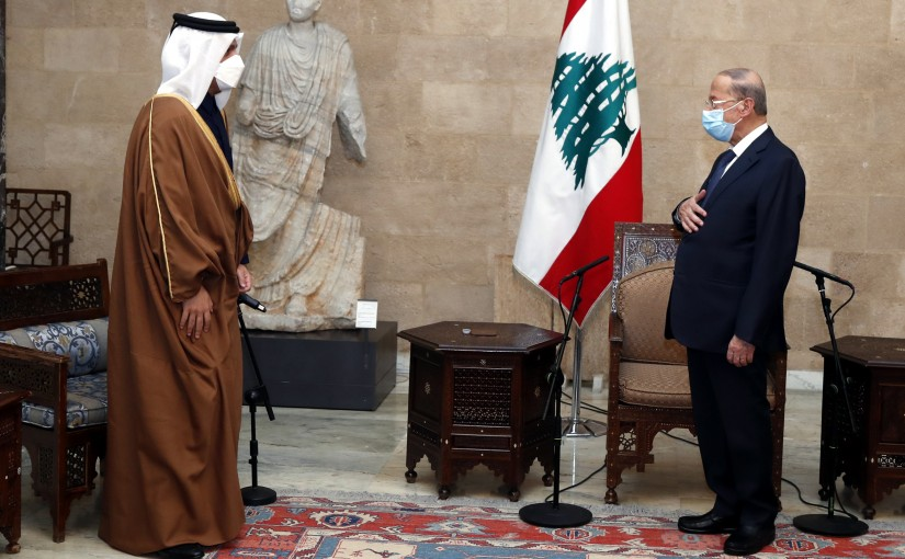 President Michel Aoun meets Deputy Prime Minister and Minister of Foreign Affairs of Qatar HE Sheikh Mohammed bin Abdulrahman Al Thani and the accompanying delegation in the presence of Qatar's Ambassador to Lebanon Mohammad Al-Jaber.