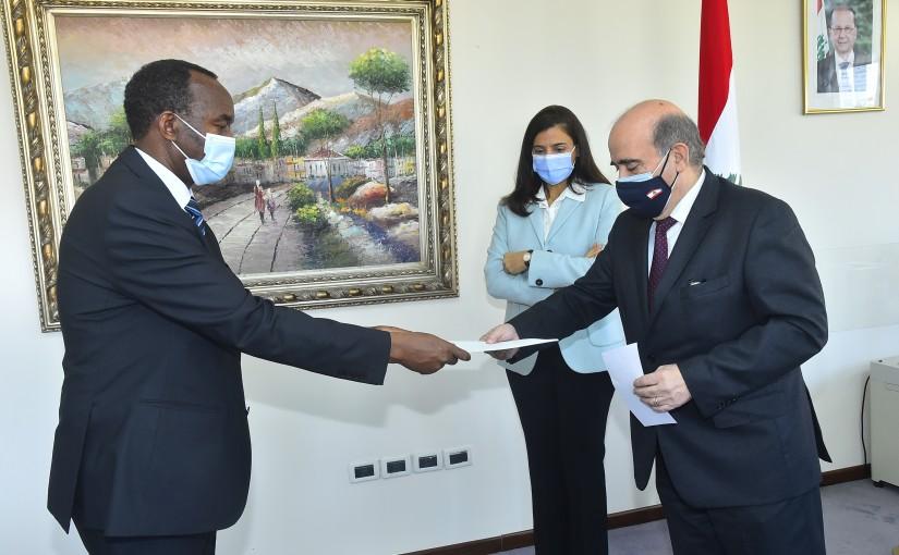 Minister Charbel Wehbeh meets Mr Emanuel Kalinzi