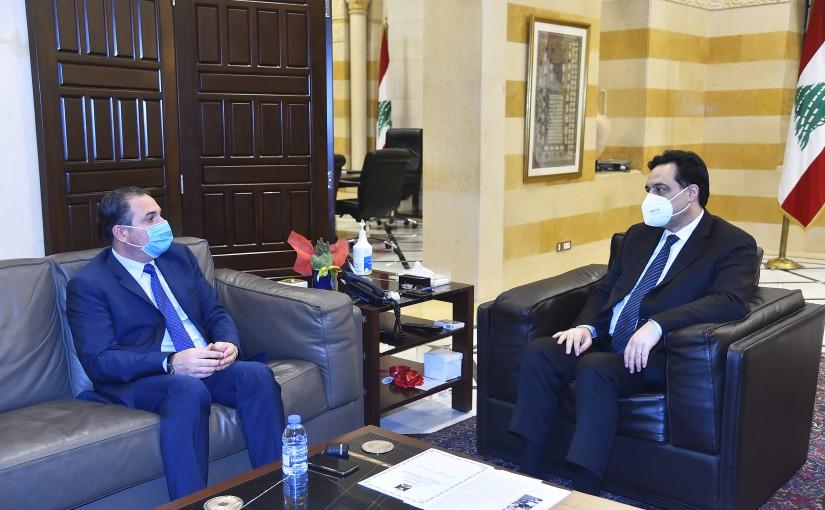 Pr Minister Hassan Diab meets Minister Tallal Hawat