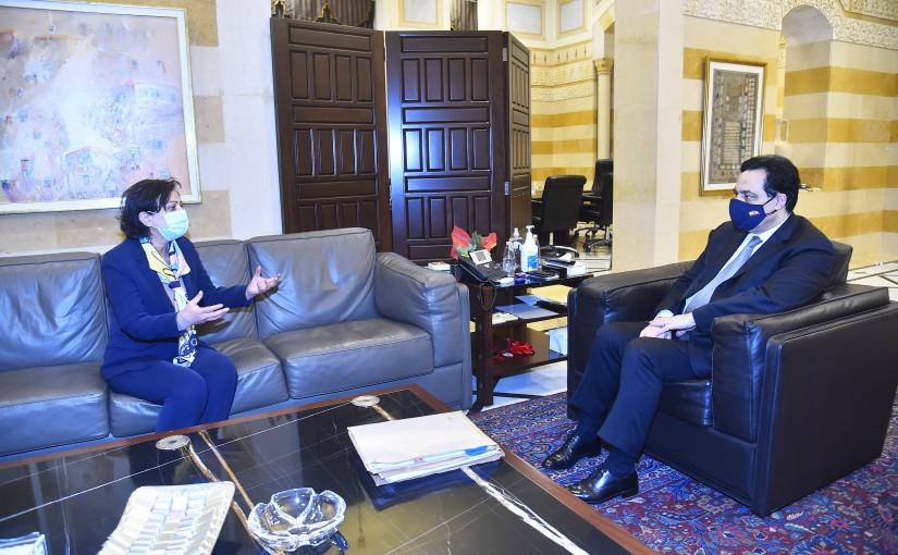 Pr Minister Hassan Diab meets Mrs Najad Rashdi