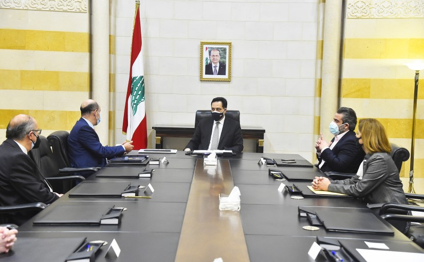 Pr Minister Hassan Diab meets Judge Mouhamad Badran with a Delegation