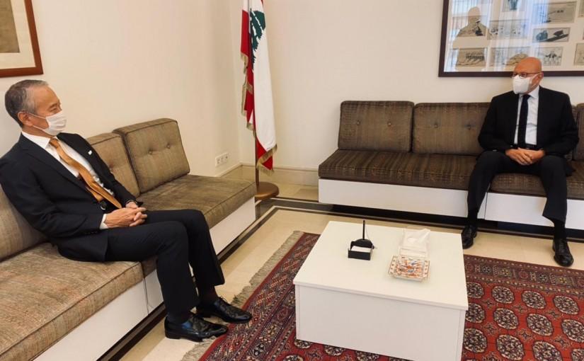 Former Pr Minister Tammam Salam meets Japanese Ambassador