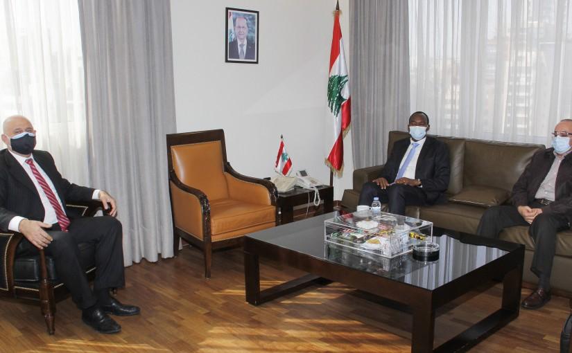 Minister Imad Heballah meets Unido representative Emmanuel Calenzi