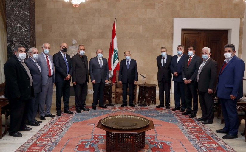 President Michel Aoun meets the President of the General Labor Union, Dr. Bechara Al-Asmar with a delegation.