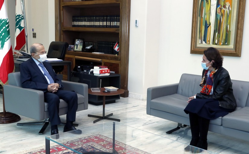 President Michel Aoun meets French Ambassador Anne Grillo.