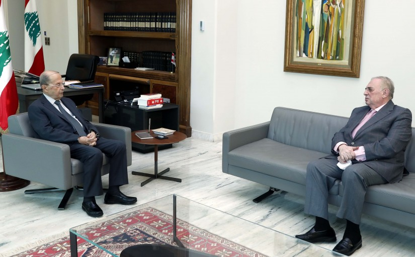 President Michel Aoun meets MP Farid Boustany.