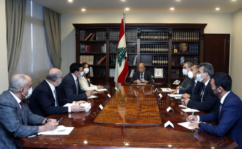 President Michel Aoun meets Minister Zeina Akar and Minister Michel Najjar .