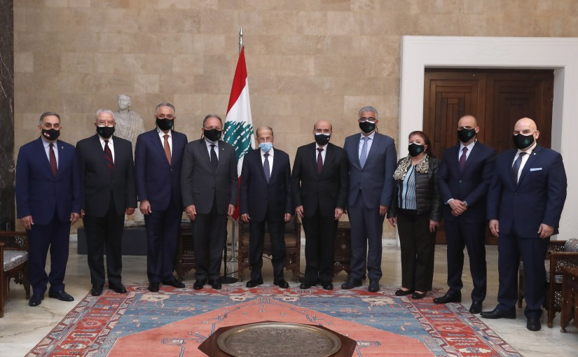 President Michel Aoun meets Mr. Abbas Fawaz, President of World Lebanese Cultural Union, with a delegation.