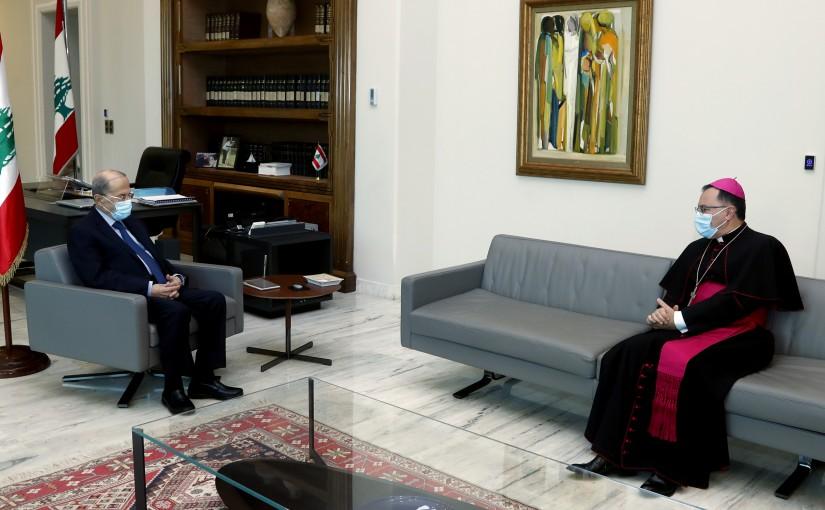 President Michel Aoun meets S.E. Mgr. Joseph Spiteri (papal ambassador to Lebanon).