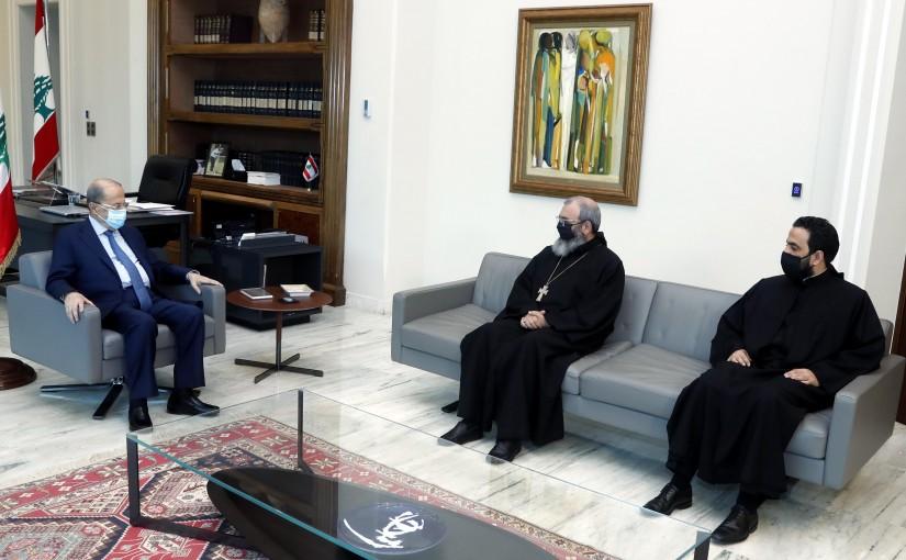 President Michel Aoun meets Father Naamat Alla Hashem.