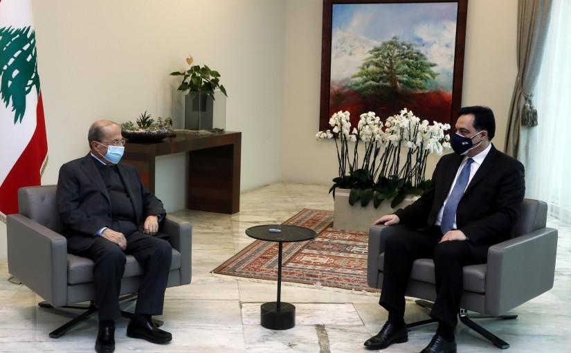 President Michel Aoun meets with Caretaker Prime Minister Hassan Diab.